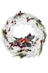 Украшение для интерьера светящееся Снегири на венке
