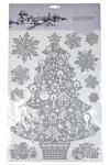 Набор наклеек новогодних Елка и снежинки