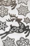 Набор наклеек новогодних Олени и снежинки