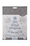 Набор наклеек новогодних Праздничная елочка и снежинки
