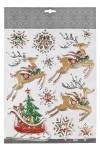 Набор наклеек новогодних Волшебные сани Деда Мороза и снежинки