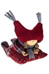 Кукла декоративная Девочка в клетчатом платье на подушке