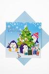 Открытка подарочная новогодняя Забавные пингвины