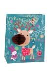 Пакет подарочный новогодний Лосик - коричневый носик