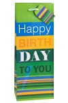 Пакет подарочный для бутылки На день рождения!