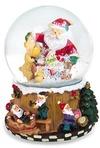 Украшение новогоднее музыкальное Шар - Дед Мороз с оленями