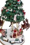 Украшение новогоднее музыкальное и двигающееся Оленья упряжка Деда Мороза над городом