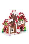 Украшение новогоднее светящееся Пряничный домик и Дед Мороз