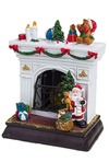 Украшение новогоднее светящееся Дед Мороз у камина