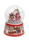 Шар со снегом музыкальный Дед Мороз с малышами у елки