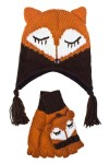 Комплект детский (шапка, перчатки) Лисичка