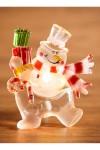 Светодиодная фигурка Снеговик с подарком