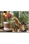 Картина с LED подсветкой Кот с цветами