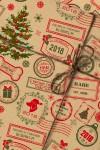Бумага упаковочная с вашим текстом Новогодние штампы