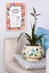 Постер в раме с Вашим текстом Цветочные буквы
