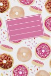 Тетрадь в линейку с косыми линиями Пончики