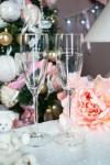 Набор новогодних бокалов для шампанского с вашим текстом (длинные) Счастья в новом году