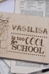 Блокнот с деревянной обложкой с Вашим текстом Too cool for school