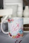 Кружка с вашим текстом Акварельные цветы