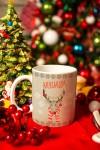 Кружка новогодняя с вашим текстом Рождественский олень