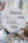 Тарелка декоративная с вашим текстом Live.Laugh.Love