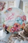 Тарелка декоративная с вашим текстом Акварельные цветы