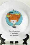 Тарелка декоративная с вашим текстом Знаки зодиака (рыжая)