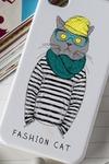 Чехол для iphone 4/4S с вашим текстом Кот с шарфом
