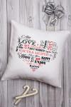 Подушка декоративная с Вашим именем Сердце влюбленных