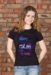 Футболка женская с вашим текстом Be calm make love