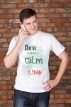 Футболка мужская с вашим текстом Be calm make love