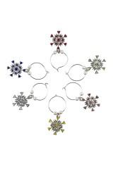 Набор подвесок для бокала Разноцветные снежинки