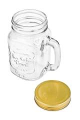 Кружка банка с ручкой и крышкой Mason Jar Солнечный напиток
