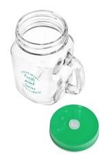 Кружка банка с ручкой и крышкой Mason Jar Листья мяты