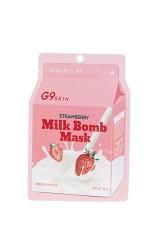 Маска для лица тканевая G9SKIN MILK BOMB MASK-Strawberry