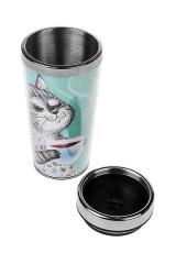 Термокружка с крышкой Котик с чаем
