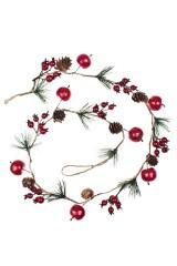 Гирлянда декоративная Еловые веточки с яблочками и ягодками