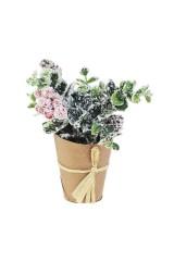 Композиция декоративная Заснеженные цветы с ягодками