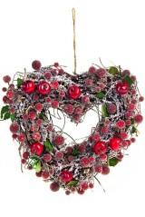 Украшение для интерьера Венок - Сердце с вишенками
