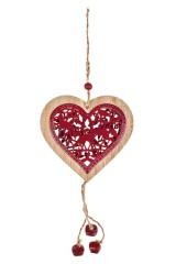 Украшение декоративное Резное сердце с бубенцами