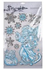 Набор наклеек Снежинки и Дед Мороз