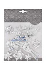 Набор наклеек новогодних Парящий олень и снежинки