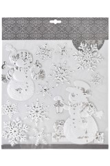 Набор наклеек Снеговики с подарками и снежинки