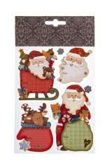 Набор наклеек новогодних Деды Морозы и подарки