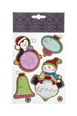 Набор наклеек новогодних Записки от пингвина и снеговика