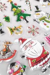 Набор наклеек новогодних Дед Мороз со снеговиками