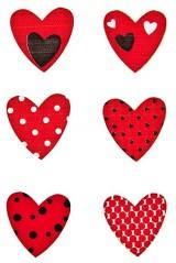 Набор наклеек Красные сердечки