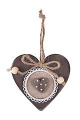 Украшение декоративное Двойное сердце с бантиком
