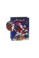 Пакет подарочный новогодний Дед Мороз с подарками