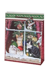 Пакет подарочный новогодний Котики в колпачках